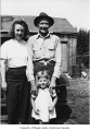 Kate Anderson, Broe Sahlin and Sherrie Anderson outside a cabin probably in Hobart, 1947