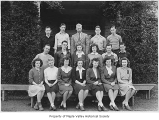 Tahoma High School class of 1946 outside school entrance, Maple Valley, ca. 1945
