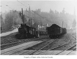 Pacific Coast Railroad Company engine number 16 switching at Maple Valley, 1944