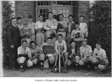 Tahoma High School baseball team outside school, Maple Valley, 1940