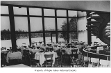 Gaffney's Lake Wilderness Resort dining room interior showing the view over the lake to Mount...