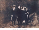 Frelich and Logar children walking to school, probably in Landsburg, ca. 1916