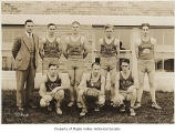 Tahoma High School basketball team outside the school, Maple Valley, 1933