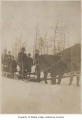 Horse and sled transporting people after snow, probably in Maple Valley, 1912