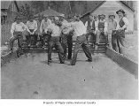 Fred Habenicht's boxing exhibition in Bocci Ball Alley, Ravensdale, ca. 1920