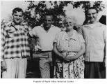 Rudy Glinsek and Bill Primozich with Francis and Frank, Ravensdale, ca. 1947