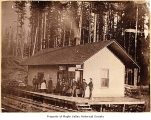 Columbia and Puget Sound Railroad Company depot exterior showing people on the platform, Maple...