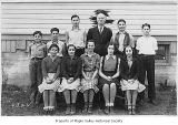 Taylor School students outside school with Mr. Stiles, Taylor, 1938