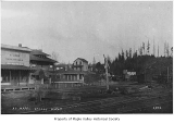 W.D. Gibbon store, Post Office and nearby railroad tracks, Maple Valley, ca. 1900