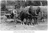 Ruben Bunstine on horse and buggy, possibly in Renton, 1917