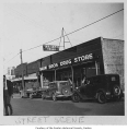 Shaw Brothers Drug Store exterior, Renton, 1946