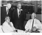 Frank Conklin, Jennie Moses, Henry Moses, Vince Stewart at Pioneer Tea, Renton Public Library,...