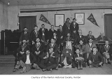 Forester Lodge interior showing members posing, Taylor, 1916