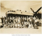 Boeing plant exterior showing air force civilian inspectors and accountants in front of a Boeing...