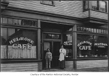 Melrose Cafe exterior showing Ethel Wolske and young Uder near entrance, Renton,  n.d.