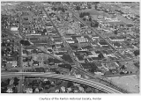 Downtown Renton and environs, aerial view looking west, Renton, 1970