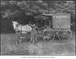 Jack Harries, Charles Higdon and May the horse pulling a T. Harries wagon, probably in Renton, n.d.