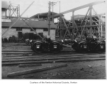 Railroad cars for logging produced by Pacific Car and Foundry Company, Renton, 1925