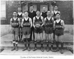 Renton High School basketball team outside school, Renton, 1921