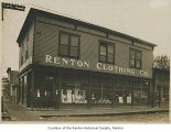Renton Clothing Company exterior showing J.C. Kirkman and two other men outside entrance, Renton,...