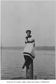 Millie Pritchard in bathing suit at Lake Washington, Seattle, ca. 1917