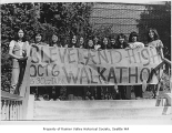 Cleveland High School students with walkathon banner, Seattle, ca. 1977