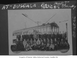 Trainmen with streetcar at Dugdale Baseball Park, Seattle, ca. 1915