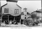 Hepler family in front of Hepler Grocery, Columbia City, 1902