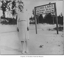 Inez Carson (Scherer) near southwest entrance of Echo Lake Bathing Beach, 1930