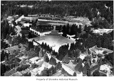 Lake Forest Park school grounds and environs, aerial view, Lake Forest, ca. 1968