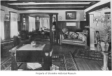 Reid family home, interior, living room, looking toward music room, Lake Forest Park, 1914