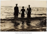 Elsa Adams and her cousins at Richmond Beach, 1909