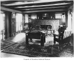 Reid family home, interior, living room, looking toward fireplace, Lake Forest Park, 1914