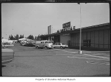 Gateway Shopping Center parking lot showing Fred Meyer, Marketime and Dunn Lumber Company,...