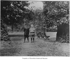 Ronald School students Raymond Haines and Donald Crane at Woodland Park, Seattle, ca. 1919