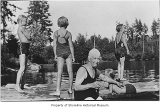 Mrs. Butcher with children at Echo Lake, 1935