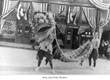 Chinese lion dance during Famine Festival, Seattle, 1921