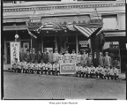 Keio Baseball team in front of the Northern Pacific Hotel, Seattle, ca. 1928