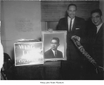 Ken Prichard and Wing Luke with campaign sign and photograph, Seattle, probably 1962