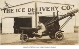 Ice Delivery Company lifter outside warehouse, Auburn, ca. 1928