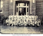 White River baseball team outside a building in Seattle, 1930