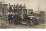 Volunteer Fire Department personnel with a fire truck, Kent, ca. 1918