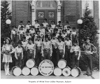 Veterans of Foreign Wars Junior Drum and Bugle Corps outside Aubur Public Library in Auburn,...