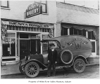 Kent Bakery truck outside bakery storefront in Kent, ca. 1920