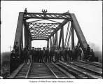 Northern Pacific Railway bridge crew completing Stuck River Bridge, Auburn, ca. 1907