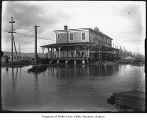 Interurban Station during a flood, Kent, ca. 1906