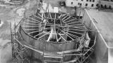 Blending tank being built during the construction of the Bloedel, Stewart and Welch kraft pulp...
