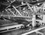 Rows of circular saw blades and conveyors inside of mill, possibly at the Bloedel, Stewart and...