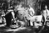 Men making large vat of Maxwell House coffee over fire, Bloedel-Donovan Lumber Mills employees...