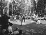 Men boxing in ring with crowd watching, probably at picnic, Bloedel-Donovan Lumber Mills, 1922